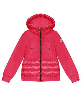 Fleece Hoodie with Nylon Trim, Bright Pink, Sizes 8-14
