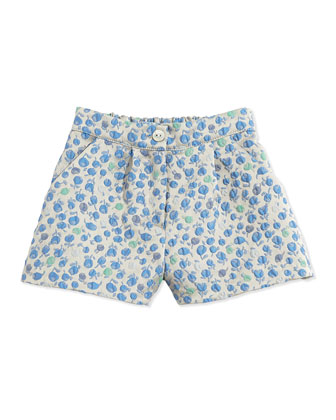 Floral-Jacquard Short, Blue, Sizes 5-8