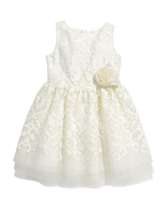 Sleeveless Tulle Party Dress, Off White, Sizes 5-8