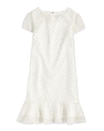 Velvet Polka-Dot Flounce Dress, Off White, Sizes 5-8