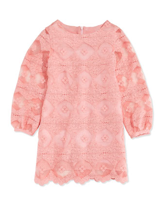 Long-Sleeve Lace Dress, Pink, Sizes 5-8