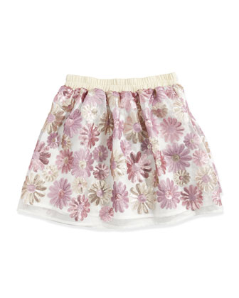 Floral-Sequined Skirt, Pink/Gold, Sizes 5-6