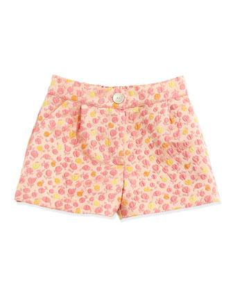 Floral-Jacquard Shorts, Pink, Sizes 10-12