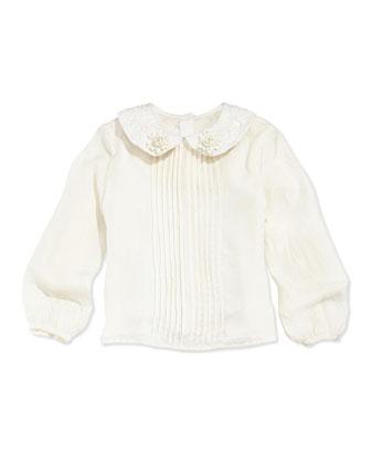 Peter Pan-Collar Blouse, Off White, 10-12