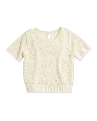 Short-Sleeve Knit Top, Gold, Size 5-8