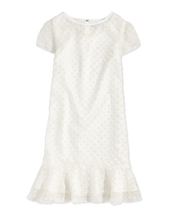 Velvet Polka-Dot Flounce Dress, Off White, Sizes 2-12