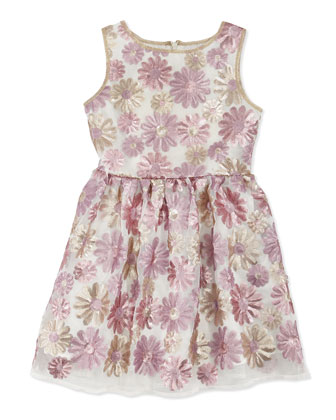 Sleeveless Sequined Floral Dress, Pink/Gold, Sizes 10-12
