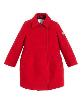 Wool-Blend Dress Coat, Red, Sizes 2-8