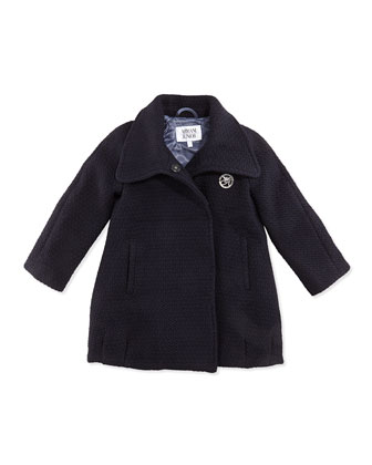 Girls' Tweed Dress Coat, Navy, Sizes 2-8