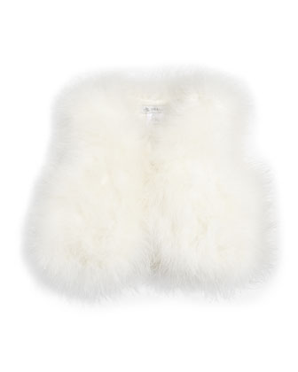 Fluffy Feather Vest, Off White, Sizes 10-12
