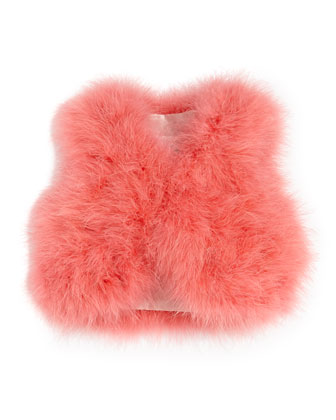 Fluffy Feather Vest, Pink, Sizes 10-12