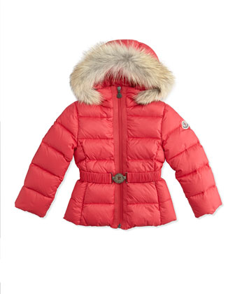 Girls' Angers Puffer Jacket with Fur Trim, Bright Pink, Sizes 2-6