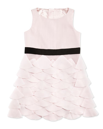Tiered Petal-Appliqu?? Party Dress, Blush, Sizes 2-7