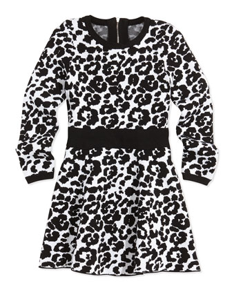 Cheetah-Print Flare Dress, Black/White, Sizes 8-14