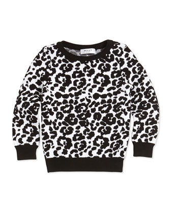 Cheetah-Jacquard Pullover Sweater, Black/White, Sizes 8-14