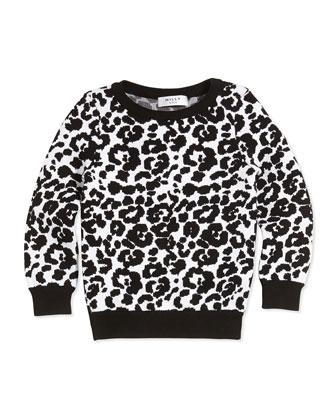 Cheetah-Jacquard Pullover Sweater, Black/White, Sizes 8-14