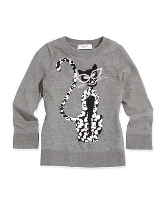 Cheetah-Print Knit Sweater, Charcoal, Sizes 2-7