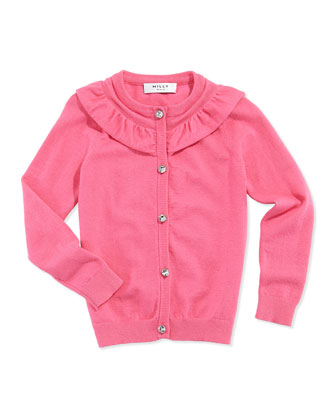 July Ruffle Knit Cardigan, Bubble Gum, Sizes 8-14