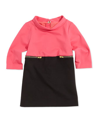 Colorblock Zip-Detail Dress, Candy/Black, Girls' 8-14
