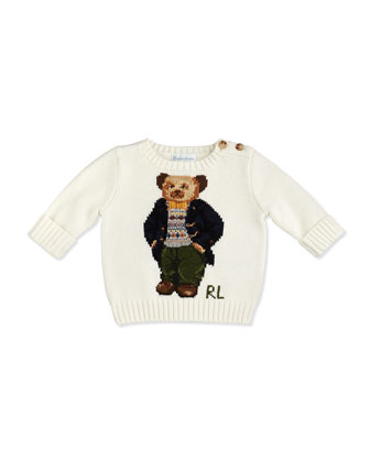 Intarsia-Knit Bear Sweater, Northern Sky, 3-12 Months