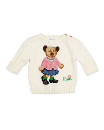 Girls' Intarsia-Knit Bear Sweater, 3-12 Months