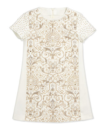 Ponte Embellished Shift Dress, Sizes 7-10