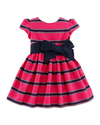 Striped Cotton-Sateen Dress, Pink Multi, 9-24 Months