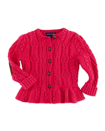 Cable-Knit Peplum Cardigan, Currant, 9-24 Months