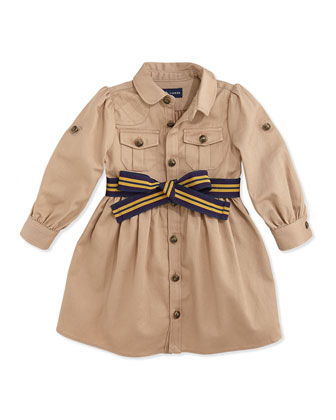 Long-Sleeve Belted Twill Dress, Vintage Khaki, 9-24 Months