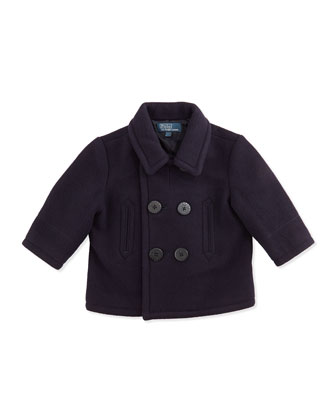 Naval Wool-Blend Pea Coat, Navy