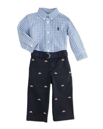 Tattersall Button-Down Shirt & Pants Set, Blue, 9-24 Months