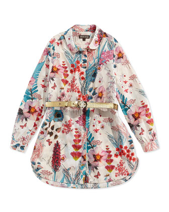 Floral-Print Poplin Tunic, Sizes 7Y-10Y
