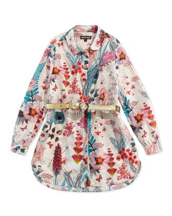 Floral-Print Poplin Tunic, Girls' 11-14