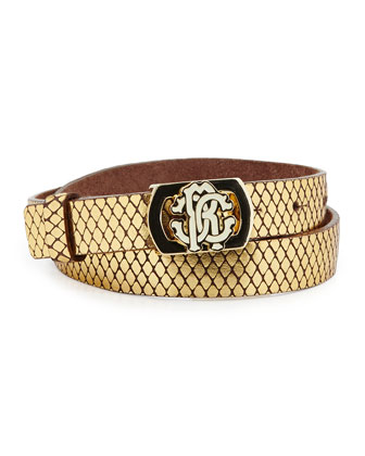 Snake-Embossed Metallic Leather Belt, Golden, Sizes 2-14