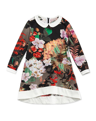 Stretch-Knit Floral-Print Shift Dress, Black, Sizes 2-6X