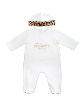 Newborn Two-Piece Gift Set, White/Leopard Print
