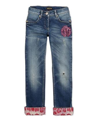 Leopard-Print Trimmed Distressed Jeans, Leopard-Print Jersey Logo Tee & ...