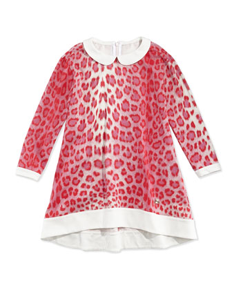 Stretch-Knit Leopard-Print Shift Dress, Red/White, Sizes 11-14