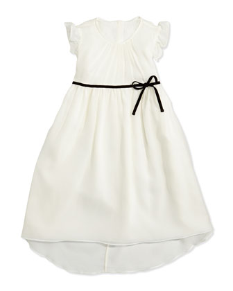 Floaty Chiffon Dress, White, 3Y-12Y