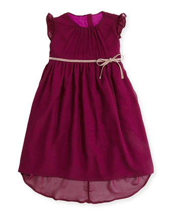 Floaty Chiffon Dress, Plum, 3Y-12Y