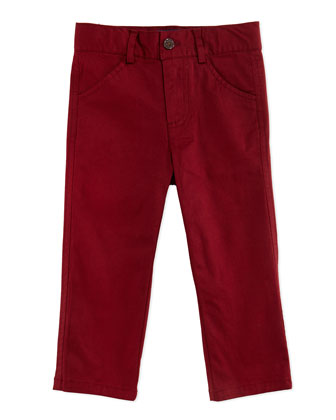 Twill Trousers, Red, 2T-7Y