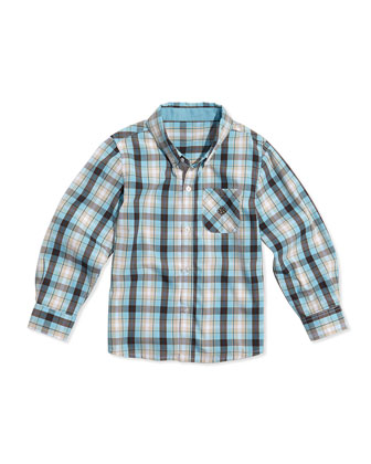 Two-Tone Plaid Poplin Button Shirt, Brown/Light Blue, Sizes 2T-7Y