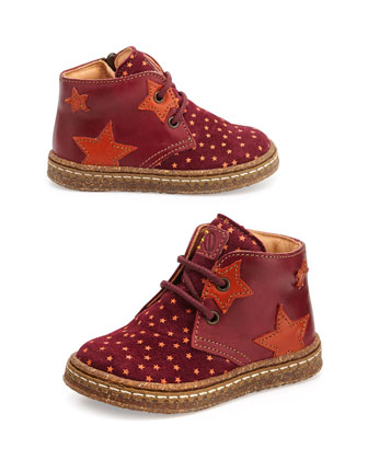 Star-Print Eco Leather & Suede Boots, Toddler, Red/Orange