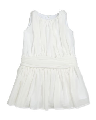 Ruched Chiffon Dress, Ivory