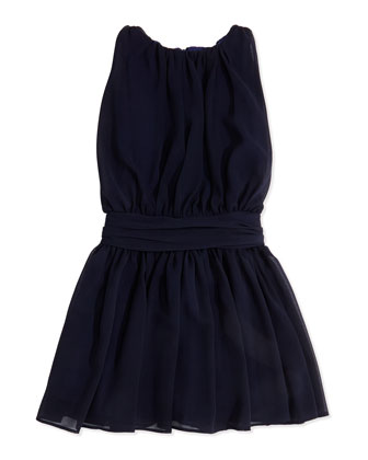 Ruched Chiffon Dress, Navy, Sizes 7-14