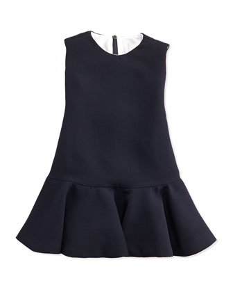 Ruched Chiffon Dress, Navy
