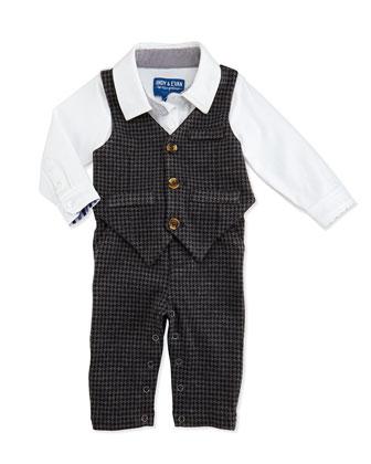 One-Piece Houndstooth Vest & Pants Set, 3-12 Months