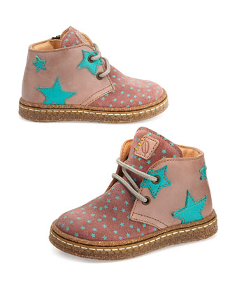 Star-Print Eco Leather & Suede Boots, Youth, Pink/Blue