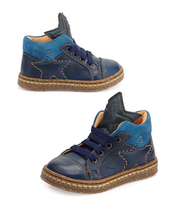 Star-Print Eco Leather & Suede Boots, Youth, Navy/Blue