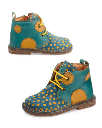Polka-Dot-Print Eco Leather & Suede Boots, Youth, Yellow/Blue